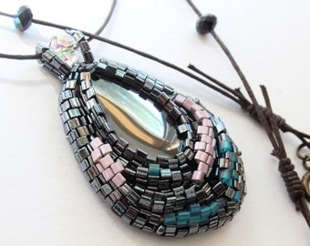 beaded pendant, handmade beaded pendant, pendant with hematite, pendant necklace, black gray pendant necklace, gift for women