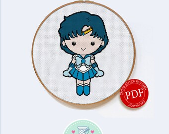Sailor Mercury | Digital Download | Geek Cross Stitch Pattern | Sailor Moon Pattern