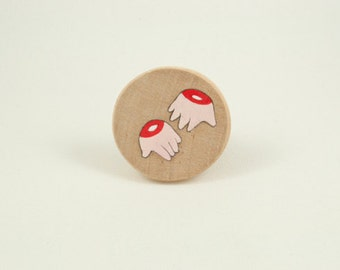 Cutted hands hand painted wooden brooch