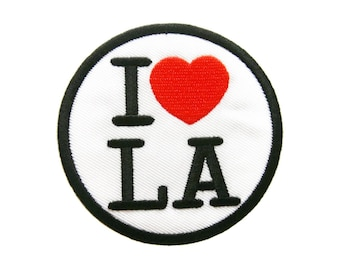 I Love LA Los Angeles Embroidered Applique Iron on Patch
