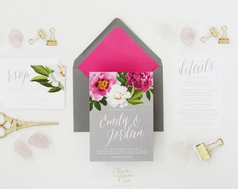 EMILY SUITE // Peony Wedding Invitation Botanical, Rustic, Plantation, Boho, Modern, Southern Wedding, Garden, Gray, Pink, outdoor wedding