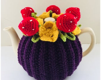 Strawberry Patch Tea Cosy - in plum purple pure wool base - Size Medium (fits standard 6-cup teapots)