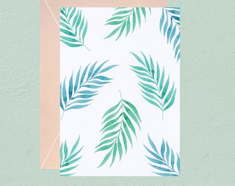 Watercolor palm leaves pattern postcard