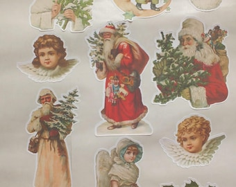 set of 22 large stickers Christmas VINTAGE VICTORIAN gift cardmaking scrapbooking card hand made shabby chic