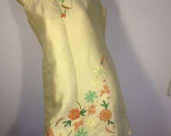 FREE  SHIPPING   1950 Embroidered Silk Dress