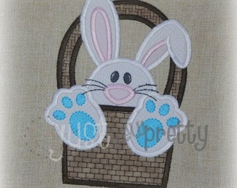 Bunny in Basket Boy Easter Embroidery Applique Design