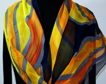 Yellow Navy Blue Silk Scarf Handpainted Chiffon Shawl MIDNIGHT FLAMES, Silk Scarves Colorado. Select Your SIZE! Birthday,  Anniversary Gift