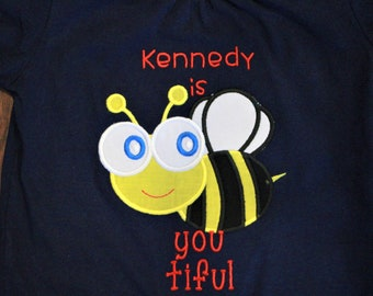 Bumble bee, summer shirt, girl shirt, girls shirt, t shirt, tshirt, t-shirt, custom, girl clothing, toddler, blue, yellow, personalized,