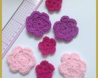 Set of 7 crochet rose tone flowers, fuchsia and purple