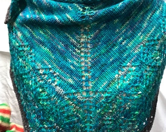 Blue/Green variegated wool blend shawl