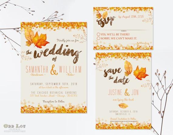 Homemade Fall Wedding Invitations: Autumn Wedding Invitation Set Fall Wedding Invitations DIY