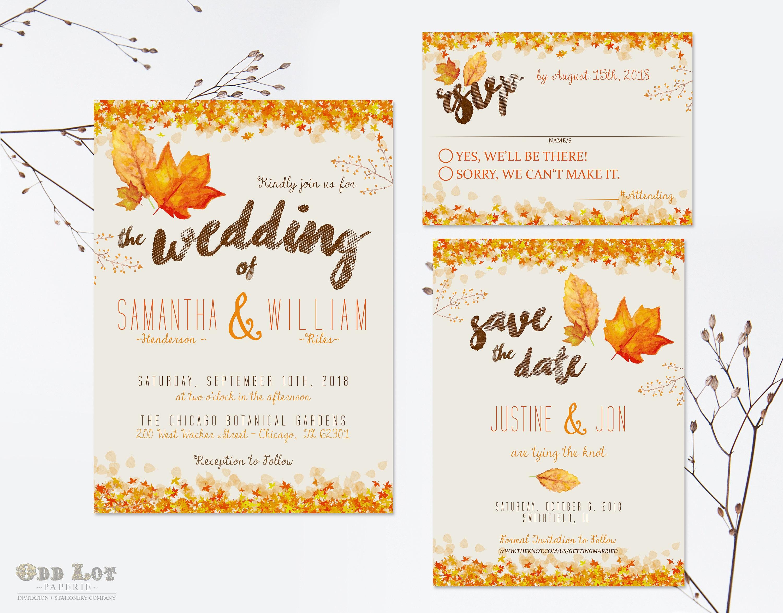 Diy Autumn Wedding Invitations: Autumn Wedding Invitation Set Fall Wedding Invitations DIY