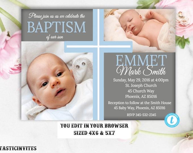 Baptism Invitation TEMPLATE, Baptism Invitation Printable, Boy Baptism Invitation, DIY, Printable Baptism Invitation, INSTANT Download