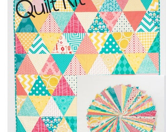 QUILT KIT - Coral, Teal, and Yellow Equilateral Triangles - Precut 60 degree Triangles for easy baby quilt