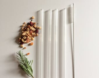 Set of Four Clear Reusable Glass Straws / Clear Glass / Reusable Straw / Smoothie Straw