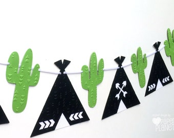 Black Teepee and cactus banner. Black and green. Photo Prop, Birthday party garland, bunting, baby shower. Boho Tribal Wilderness. Wild One.