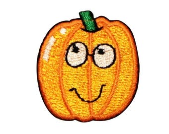 ID 0790A Happy Pumpkin Patch Jack O Lantern Embroidered Iron On Applique