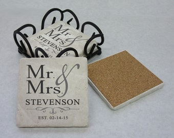 Tumbled Stone Mr and Mrs Coaster Set (4), Personalized Coasters, Unique Wedding Gift, Wedding Shower, Housewarming Gift, New Couple