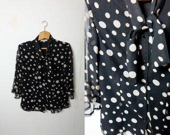 1990s vintage black and white chiffon polka dot blouse top with tie up collar - Large size UK 12 EU 40