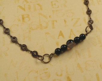 Beauty Gift Black Agate Bar Necklace on Antiqued Gold Plated Brass Chain