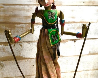 Indonesian Puppet Wayang Golek Doll Vintage Javanese Puppet Doll Queen Art Doll Java Stick Puppet Indonesia Theater Marionette