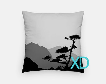 Mountain Pillow, Nature Pillow Cover, Silhouette Pillow Case, White, Gray Pillow, Artistic Design, Home Decor, Decorative Pillow Case, Sham