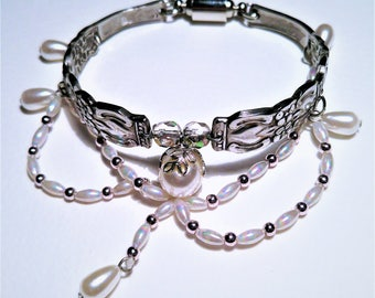 Hand Made Flatware Bracelet. Faux Pearl Beaded Center.