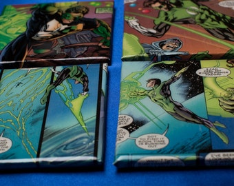 Green Lantern Decorative Ceramic Tile Coasters Set, Comic Lover Gift, Wall Decor, Handmade, One of a Kind, DC Comic Art, Great Gift for him
