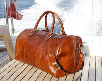 """Leather Duffle Bag 21"""" / Floto 141217 Brown / Travel Bag / Leather Sports Bag / Cabin Travel Bag / Weekender  / Overnight Bag / Leather Bag"""