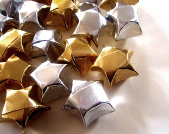 20 Metallic Gold and/or Silver Origami Lucky Stars - Wishing Stars - Table Decor, Confetti, Gift Enclosure, Decoration - Paper Stars Set