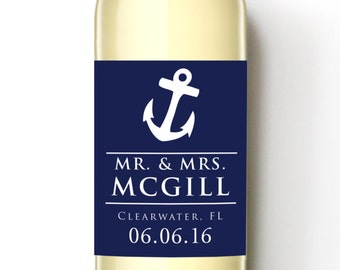 Anchor Together Custom Wine Labels - Nautical Theme Wedding Favor - WEATHERPROOF and REMOVABLE labels