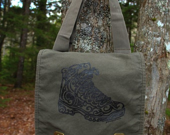Hiking Boot Tribal Tattoo Messenger Field Bag -  Screen Printed Original Design