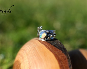 silver opal ring, leaf ring, elvish ring, opal engagement ring,  sterling silver, gold 14k, Ethiopian opal ring, nature ring, woodland ring