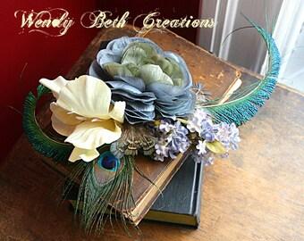 Glistening Meadow Hair Clip Fascinator - ATS, Tribal Fusion, Belly Dance, Hair Garden, Wedding, Pin Up, Peacock Feather, Blue, Yellow