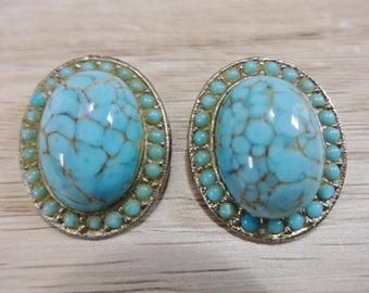 Clip on Earrings silver tone turquoise  Vintage Retro jewellery  jewelry