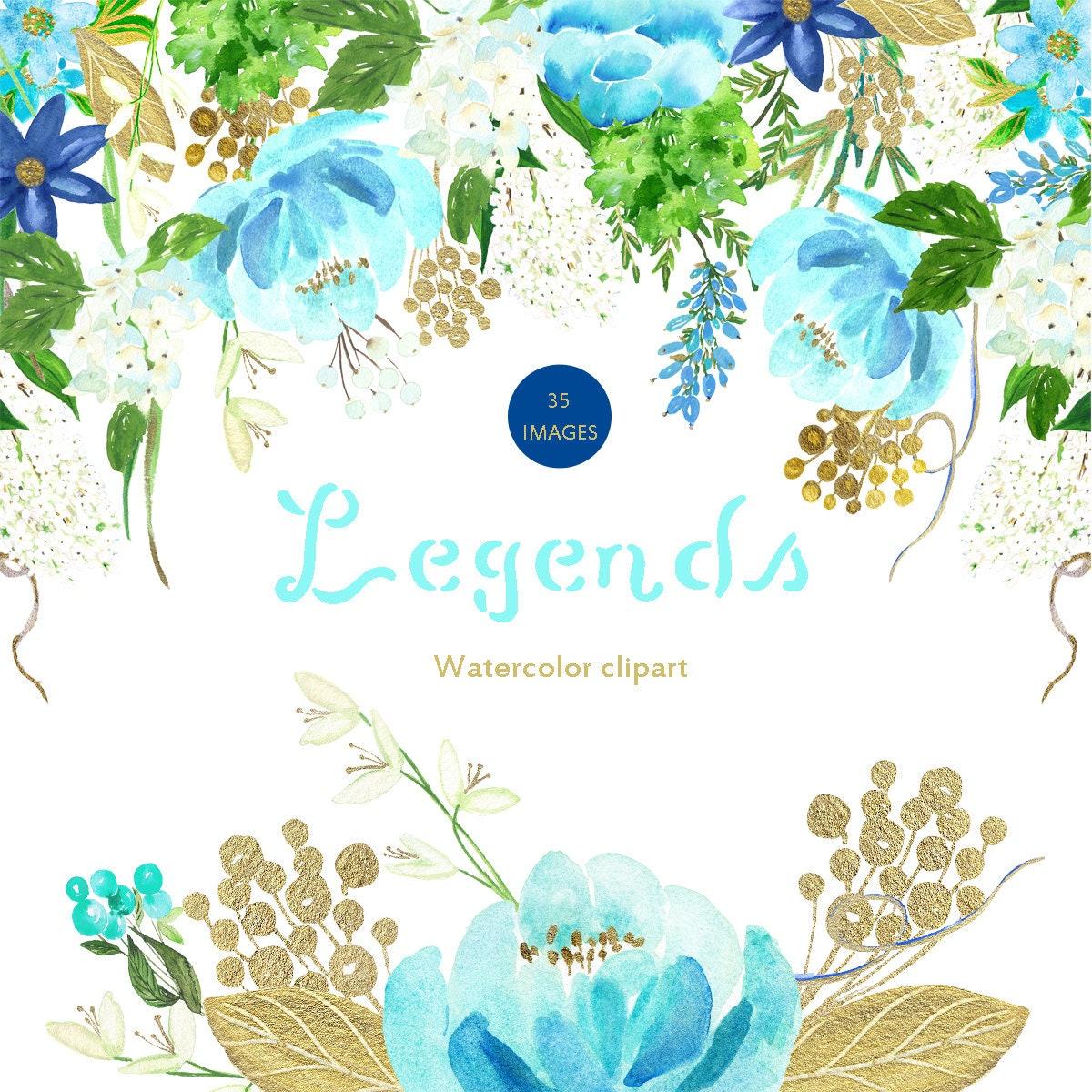 Light blue and gold palette Digital clip art. Soft blue flowers ...