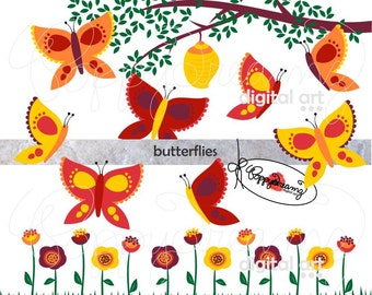 Butterflies: Clip Art Pack (300 dpi transparent png) Digital Butterfly Butterflies Digital Tree Flower Garden Clipart