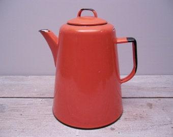 orange enamel coffee pot / vintage enamelware