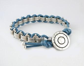 Blue Leather Bracelet for Women, Trendy Jewelry, Leather Cord Bracelet, Friendship Jewelry, Silver Chain Bracelet, BFF Bracelet,