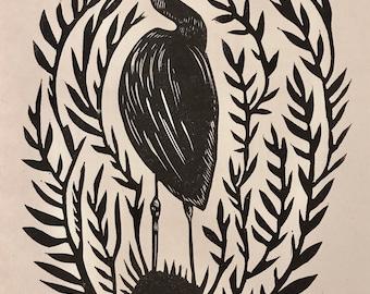"Original linocut print ""Heron,"" Block Print, Wall art print, handmade by Robyn Denny"