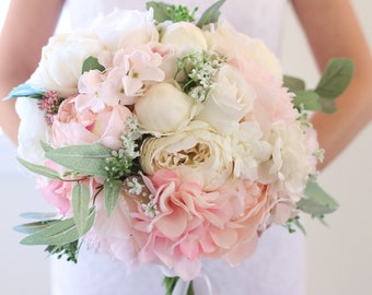 Bride Bouquet / Bridal Bouquet / Silk Flower Bouquet / Wedding Bouquet / Rustic Bride Bouquet / Natural Bouquet / Peonies Eucalyptus