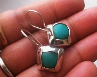 Turquoise Earrings Blue Turquoise Earrings Boho Turquoise Artisan Turquoise Earrings Chic Turquoise Gemstone Earrings 925 Sterling Silver