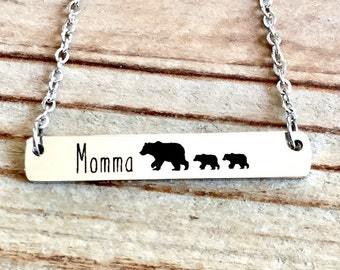 MAMA Bear Necklace, MOTHER'S DAY Gift, Mom Necklace Horizontal Bar Necklace, Mothers Day Jewelry, Gift for Mom, New Mom Gift, Newborn Gift