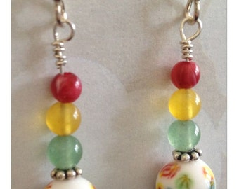 Red Light, Green Light 1-2-3! Vintage Glass Beads, Red Agate, Yellow Jade and Green Aventurine on Sterling Silver Earrings