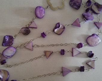 Long Layering Shell Wampum Necklace, Quahog Clam Shells Necklace, Layering Shell Lariat Necklace, Sterling Silver Lariat Y Necklace Long