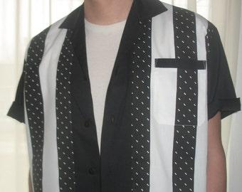 Men's Rockabilly Shirt Jac Black & White Stripe