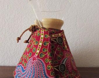 Chemex Cozy, 10, 8, or 6 Cup Pot, Red Ankara Wax Print Fabric