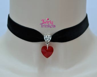 RED GLASS HEART Black Ribbon Choker, 30 Velvet Colours, 16mm