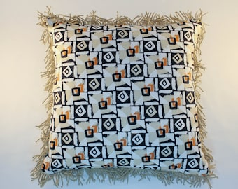 Fun Geometric Shapes Pillow/Cushion Filled with Delightful Duck and/or Goose Feathers and Trimmed with Twisted Fringe