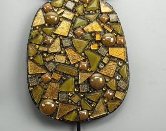 Mosaic Mixed Media Art Pineapple Wall Hook - Mosaic Pineapple Wall Decor - Glass Mosaic Wall Art Mixed Media Wall Art Mosaic Decor
